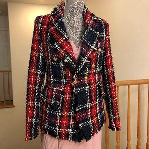 Zara Tweed Plaid Blazer